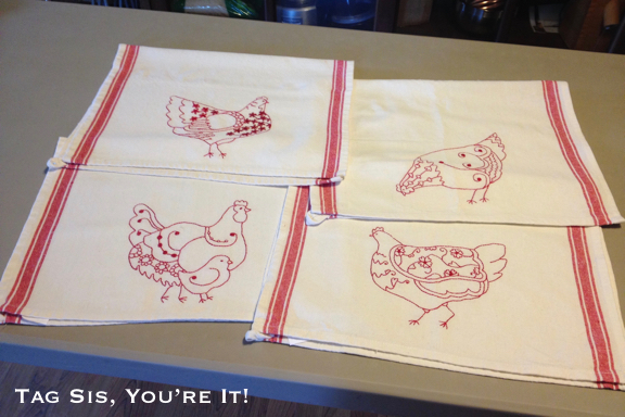 Red Work Hens