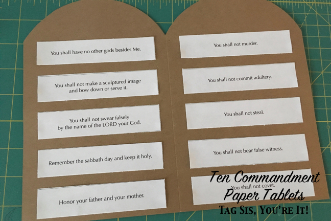 image regarding Printable Ten Commandments Tablets known as 10 Commandment Paper Capsules Tag Sis, Youre It!